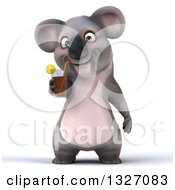 Clipart Of A 3d Koala Drinking A Beverage Royalty Free Illustration
