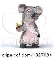 Clipart Of A 3d Koala Holding A Beverage Royalty Free Illustration