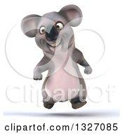 Clipart Of A 3d Koala Running Royalty Free Illustration