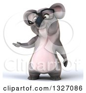 Clipart Of A 3d Bespectacled Koala Presenting Royalty Free Illustration