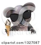Clipart Of A 3d Koala Wearing Sunglasses Holding A Waffle Ice Cream Cone And Looking Down Over A Sign Royalty Free Illustration by Julos