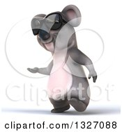Clipart Of A 3d Koala Wearing Sunglasses Walking And Presenting To The Left Royalty Free Illustration by Julos