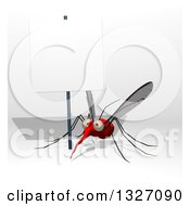 Clipart Of A Cartoon Mosquito Under A Blank Sign Royalty Free Illustration by Julos