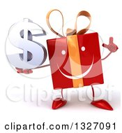 Clipart Of A 3d Happy Red Gift Character Holding Up A Finger And A Dollar Symbol Royalty Free Illustration by Julos