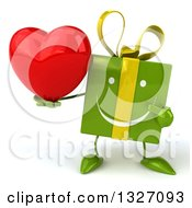 Clipart Of A 3d Green Gift Character Holding And Pointing To A Heart Royalty Free Illustration