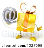 Clipart Of A 3d Happy Yellow Gift Character Shrugging And Holding An Email Arobase At Symbol Royalty Free Illustration by Julos