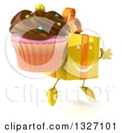 Clipart Of A 3d Happy Yellow Gift Character Facing Slightly Right Jumping And Holding A Chocolate Frosted Cupcake Royalty Free Illustration by Julos