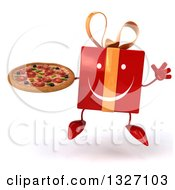 Clipart Of A 3d Happy Red Gift Character Jumping And Holding A Pizza Royalty Free Illustration by Julos