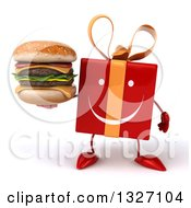 Clipart Of A 3d Happy Red Gift Character Holding A Double Cheeseburger Royalty Free Illustration by Julos