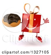 Clipart Of A 3d Happy Red Gift Character Jumping And Holding A Chocolate Frosted Donut Royalty Free Illustration by Julos