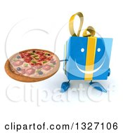 Clipart Of A 3d Happy Blue Gift Character Holding Up A Pizza Royalty Free Illustration