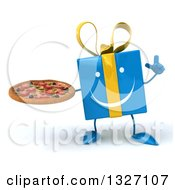 Clipart Of A 3d Happy Blue Gift Character Holding Up A Finger And A Pizza Royalty Free Illustration