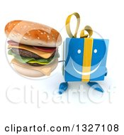 Clipart Of A 3d Happy Blue Gift Character Holding Up A Double Cheeseburger Royalty Free Illustration by Julos