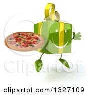 Clipart Of A 3d Happy Green Gift Character Facing Slightly Right Jumping And Holding A Pizza Royalty Free Illustration