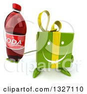 Clipart Of A 3d Happy Green Gift Character Holding Up A Soda Bottle Royalty Free Illustration