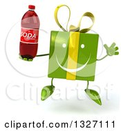Clipart Of A 3d Happy Green Gift Character Jumping And Holding A Soda Bottle Royalty Free Illustration