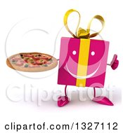 Clipart Of A 3d Happy Pink Gift Character Giving A Thumb Up And Holding A Pizza Royalty Free Illustration