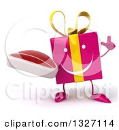 Clipart Of A 3d Happy Pink Gift Character Holding Up A Finger And A Beef Steak Royalty Free Illustration