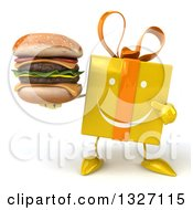 Clipart Of A 3d Happy Yellow Gift Character Holding And Pointing To A Double Cheeseburger Royalty Free Illustration by Julos