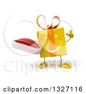 Clipart Of A 3d Happy Yellow Gift Character Holding Up A Finger And A Beef Steak Royalty Free Illustration by Julos