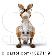 Clipart Of A 3d Bespectacled Casual Kangaroo Wearing A White Tee Shirt 2 Royalty Free Illustration