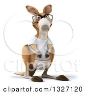 Clipart Of A 3d Bespectacled Casual Kangaroo Wearing A White Tee Shirt 3 Royalty Free Illustration