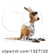Clipart Of A 3d Casual Kangaroo Wearing A White Tee Shirt And Sunglasses Facing Slightly Right Royalty Free Illustration