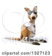 Clipart Of A 3d Casual Kangaroo Wearing A White Tee Shirt And Sunglasses Facing Slightly Right 2 Royalty Free Illustration