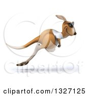 Clipart Of A 3d Casual Kangaroo Wearing A White Tee Shirt And Sunglasses Hopping To The Right Royalty Free Illustration
