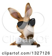 Clipart Of A 3d Casual Kangaroo Wearing A White Tee Shirt And Sunglasses Looking Down Over A Sign Royalty Free Illustration