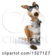 Clipart Of A 3d Full Length Casual Kangaroo Wearing A White Tee Shirt And Sunglasses Pointing Around A Sign Royalty Free Illustration