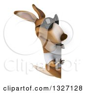 Clipart Of A 3d Casual Kangaroo Wearing A White Tee Shirt And Sunglasses Looking Around A Sign Royalty Free Illustration