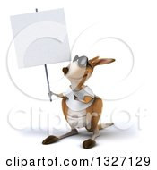 Clipart Of A 3d Casual Kangaroo Wearing A White Tee Shirt And Sunglasses Holding Up And Pointing To A Blank Sign Royalty Free Illustration