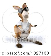 Clipart Of A 3d Casual Kangaroo Wearing A White Tee Shirt And Sunglasses Pointing To The Right Royalty Free Illustration