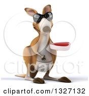 Clipart Of A 3d Kangaroo Wearing Sunglasses And Holding A Beef Steak Royalty Free Illustration