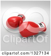 Clipart Of 3d Red Boxing Gloves Over Gray Royalty Free Illustration