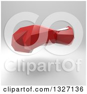 Clipart Of A 3d Red Geometric Boxing Glove Over Gray Royalty Free Illustration