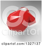 Clipart Of A 3d Red Geometric Boxing Glove Over Gray 2 Royalty Free Illustration