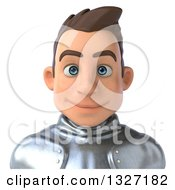 Clipart Of A 3d Avatar Of A Caucasian Male Armored Knight Royalty Free Illustration