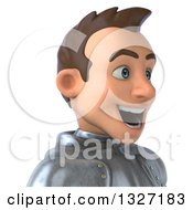 Clipart Of A 3d Avatar Of A Caucasian Male Armored Knight Facing Right Royalty Free Illustration