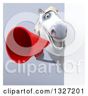 3d White Horse Announcing With A Megaphone Around A Sign On Gray With White Borders