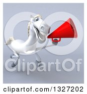 3d White Horse Running With A Megaphone On Gray With White Borders