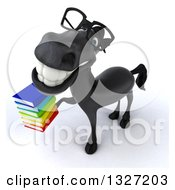 Clipart Of A 3d Bespectacled Black Horse Smiling Upwards And Holding A Stack Of Books Royalty Free Illustration