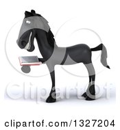 Clipart Of A 3d Black Horse Facing Left And Reading A Book 2 Royalty Free Illustration