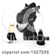 Clipart Of A 3d Black Horse Holding Champagne Over A Sign Royalty Free Illustration