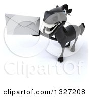 Clipart Of A 3d Black Horse Holding Up An Envelope Royalty Free Illustration