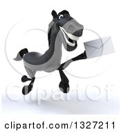 Clipart Of A 3d Black Horse Running To The Right And Holding An Envelope 2 Royalty Free Illustration by Julos