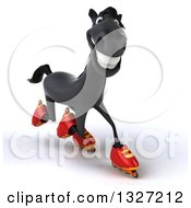 Clipart Of A 3d Black Horse Roller Blading To The Right Royalty Free Illustration by Julos