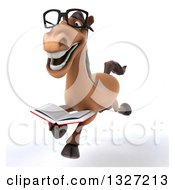 Clipart Of A 3d Bespectacled Brown Horse Running Slightly To The Left With A Book Royalty Free Illustration