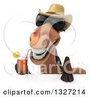 Poster, Art Print Of 3d Brown Cowboy Horse Wearing Shades And Drinking Tea Over A Sign